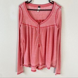 Free People Red Waffle Knit Thermal Top Small